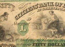Shreveport, LA 1800's Citizens' Bank of Louisiana $50 UNC Obsolete Banknote 117F