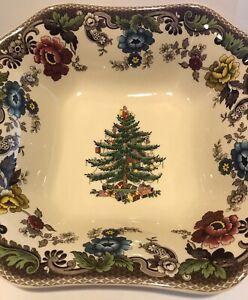 "New Spode Christmas Tree Woodland Grove Square Serving Square 9.5""W x 2.5""D"
