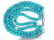 8mm x99 TURQUOISE Firoza ISLAMIC TASBIH MASBAHA PRAYER BEADS QURAN GIFT