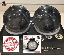 "Land Rover Defender 7"" LED headlights x2 DOT E Approved PLUS FREE REVERSE LAMP"