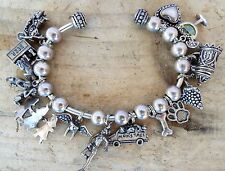 Sterling Silver 925 Cuff Bracelet 13 Charms Beads Motorcycle Beer Stein Heart