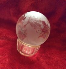 Beautiful Genuine Crystal World Globe Earth Sphere Etched Frosted Glass Ball