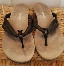b83aa2db85ef9e Patagonia Sandals Womens 6M Black Leather Flip Flops Thongs Shoes T11336