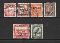 1936 King George V SG 0115 to SG 0131 officials 6  stamps  Used NEW ZEALAND