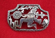 Warrior - Ethnic Hand Wrought Brooch Pin Welsch Large 900 Peru Silver Brooch -