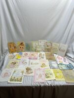 Vtg Baby Congratulations Greeting Cards Lot of 30 Girl 70s 80s Scrapbook Used