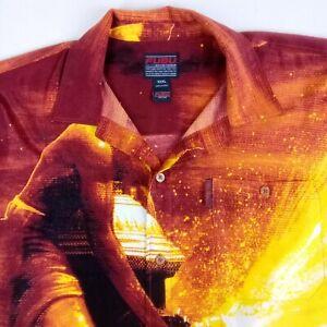 FUBU Vintage Shirt Mens 3XL Button Down Figural Retro Pocket Scene Red Orange