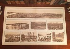 Large Original Antique Civil War CHATTANOOGA Tennessee Panoramic View Map