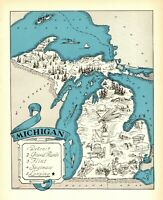 1930s Antique MICHIGAN State Map RARE Animated Picture Map of Michigan BLU 7834