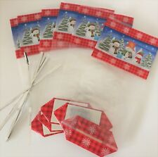 Pack of 6 CHRISTMAS  cellophane treat bags with card bottom SNOWMAN SCENE