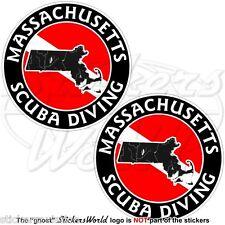 MASSACHUSETTS SCUBA DIVING Flag-Map Shape USA 75mm Circular Stickers Decals x2