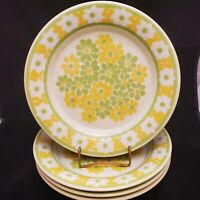 "Set of 4 VTG 10 3/4"" Dinner Plates Franciscan PICNIC Green & Yellow Flowers USA"