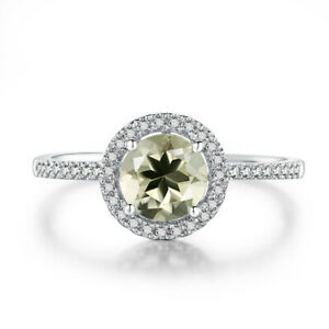 10K White Gold Wedding Fine Jewelry 6mm Round Peridot & Real Diamonds Ring Gift