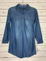 Lucky Brand Women's XS Extra Small Blue Denim Jean Button Spring Tunic Top Shirt