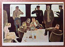 Russian postcard IZOGIZ 1930s Train interrogation Bolshevik. Prostitute. Dejneka