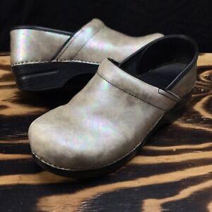 Dansko EUR 40 Professional Clogs Women's Pearl Pearled Nacar Slip On Wedge Shoes