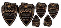6 Adesivi Stickers Scudetto Scudo DUCATI Meccanica Vintage GOLD e Black
