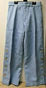 Joseph Ladies Pale Blue Cotton Blend Pleat Front Wide Leg Trousers UK 8 EU 36