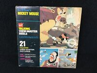 ORIGINAL VINTAGE WALT DISNEY MICKEY MOUSE GAF 3 TALKING VIEW-MASTER REELS W/BOX