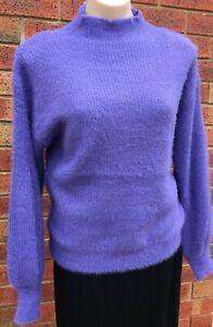 Wool blend lilac mockneck ribbed mohair knit jumper sizes S/M, M/L & L/XL NWT