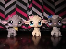Littlest pet shop LPS 3 LAMB off white grey with bows Hasbro EUC #396 #477 #549