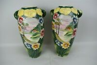 Antique Japanese Vases Hand Painted Landscape Floral Green Matching Pair Handles