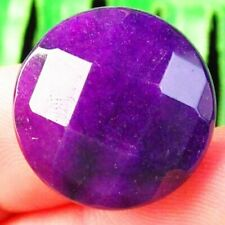 Round Cab Cabochon 20x7mm L04402 Faceted Purple Jade