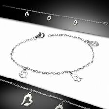 Stainless Steel With Chain D Bracelet With Charms Heart Shaped Love