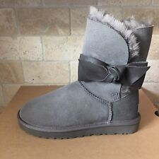 UGG Daelynn Grey Gray Leather Bailey Bow Suede Classic Short Boots Size 7 Womens