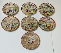 "Antique Vintage Japanese Hand Painted  Geisha Porcelain 7 Saucers 5.5"""