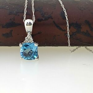 Blue Topaz & Natural Diamond Dainty Pendant Necklace in 14k Solid White Gold