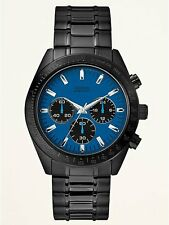 BRAND NEW GUESS W15055G4 BLACK STAINLESS STEEL BLUE CHRONOGRAPH DIAL MEN'S WATCH