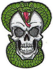 Iron On/ Sew On Embroidered Patch Badge Skull and Snake Skeleton Head