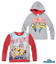 New Hoodie Children Jumper Sweatshirt Girl Minions Pink Grey 116 - 152 #810