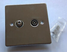 TV aerial and SAT plug, flush plate in stainless steel