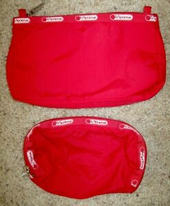 Set of 2 LeSportsac Red Small Make-up Cosmetics Bags or Coin Purse Matching Zip