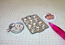 Miniature Adinolfi Chocolate Chip Cookies in Progress (3 Stages) DOLLHOUSE 1:12
