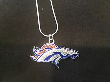 DENVER BRONCOS NECKLACE~NFL ~ FOOTBALL CRYSTAL~SPARKLY JEWELRY 22""