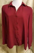 Maurices Sz S Solid Burgundy Blouse Top Long Sleeve Lace Back Womens
