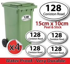 PERSONALISED x4 WHEELIE BIN NUMBERS CUSTOM HOUSE, ROAD STREET NAME STICKERS OVAL