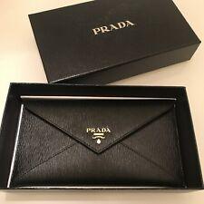 Prada Vitello Move Leather Envelope Travel Pouch Wallet - Black