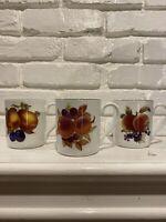 Royal Worcester Eversham Vale Fine Porcelain Set Of 3 Mugs