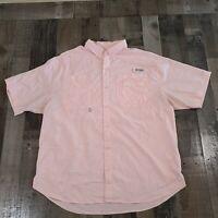 Columbia Performance Fishing Gear PFG Button Up Shirt Mens Extra Large Pink Mesh