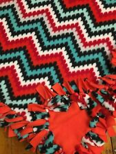 Handmade FLEECE TIE-BLANKET Reversible Red Aqua Trendy Chevron 58 x 54 - 2  layer 9dbab7375