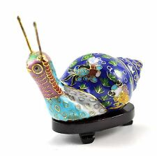 Vintage Chinese Cloisonne Copper Metal Snail Figurine Stand Deep Blue Hand paint
