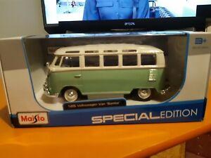 VW VAN BUS SAMBA 1:25 Scale Diecast Model Car Die Cast Models Cars Camper Green