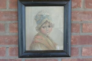 Vintage Framed Pastel Portrait: Girl in Colonial Attire; 12 x 13.5