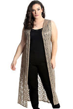 New Womens Plus Size Cardigan Ladies Floral Lace Open Front Top Sleeveless Tunic