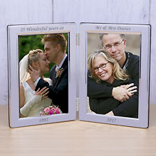 Personalised Message Double Photo Frame Silver Plated Frame Wedding Memory Frame