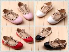 Hot Girls Pointed Toe Flats Princess Kids Shoes Buckle Rivet T-strap Sandals I62